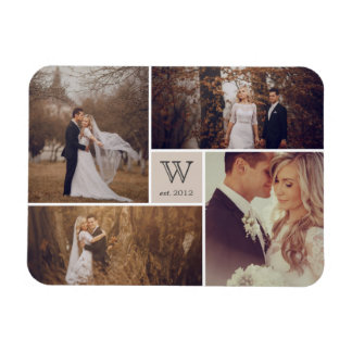Modern Block Wedding Monogram Photo Collage Magnet