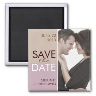 Modern Blocks Save the Date Brown & Lavender Magnets