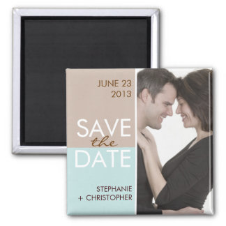 Modern Blocks Save the Date Brown & Teal Magnet