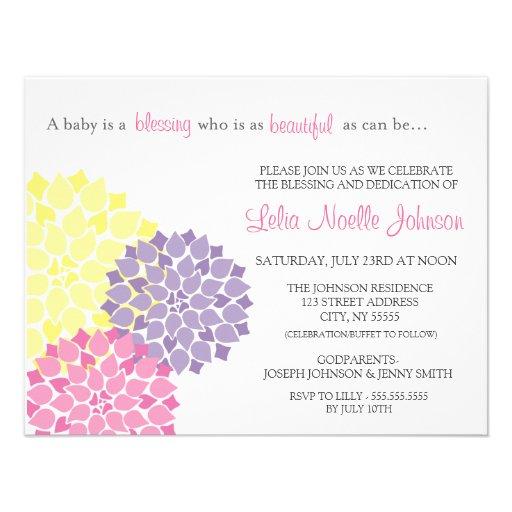 Modern Bloom Baby Dedication Blessing Invitation