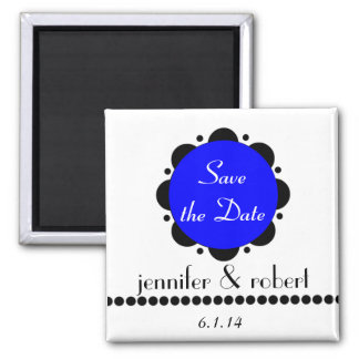 Modern Blue Abstract Daisy Save the Date Magnet