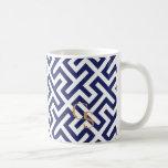 Modern blue abstract geometric patterns monogram
