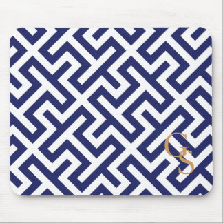 Modern blue abstract geometric patterns monogram mouse mat