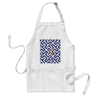 Modern blue abstract geometric patterns monogram standard apron