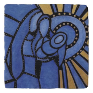 Modern Blue Abstract Holy Family Trivets