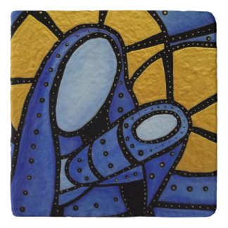 Modern Blue Abstract Mother And Child Trivets