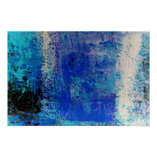 Modern Blue Abstract Print Art Decor Posters