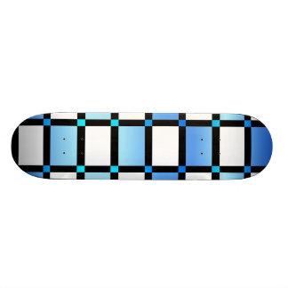 Modern Blue And Black Square Tiles Skate Board Deck