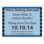 Modern Blue and Black Stripe Save The Date Post Card