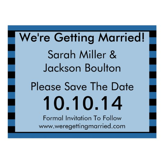Modern Blue and Black Stripe Save The Date