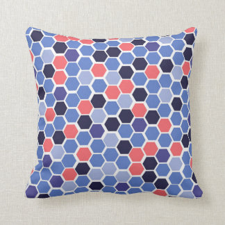 Modern blue and coral honeycomb pattern cushion