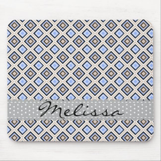 Modern Blue and Gray Confetti Squares Geo Name Mouse Mat