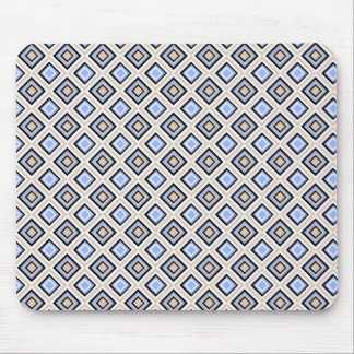 Modern Blue and Gray Confetti Squares Geo Pattern Mouse Mat