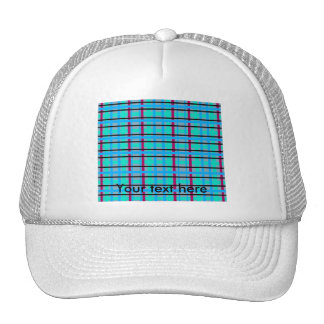 Modern blue and gray red green plaid mesh hat