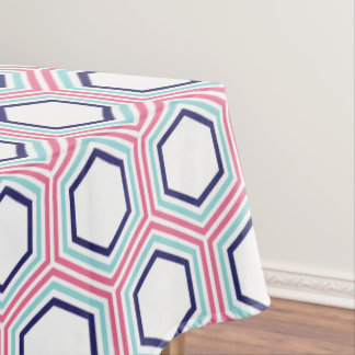 Modern Blue and Pink Geometric Pattern Tablecloth