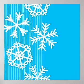 Modern blue and white Christmas white snowflakes Poster