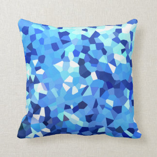 Modern Blue and White Crystallized Ocean Mosaic Cushion