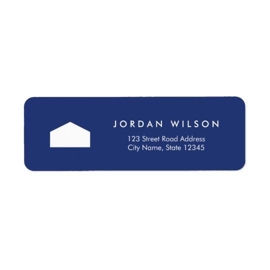 Modern Blue and White House Return Address