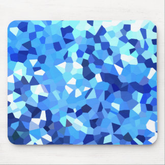Modern Blue and White Stained Glass Ocean Mosaic Mouse Mat