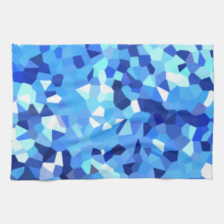 Modern Blue and White Stained Glass Ocean Mosaic Tea Towel