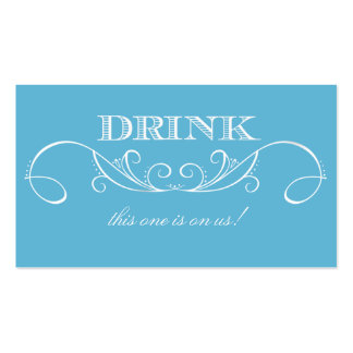 Modern Blue and White Swirl Wedding Drink Ticket Business Card