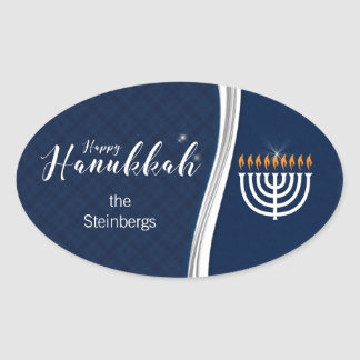 Modern Blue and White with Name for Hanukkah Oval Sticker