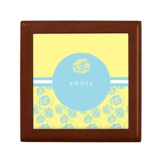 Modern Blue and Yellow Botanic Small Square Gift Box