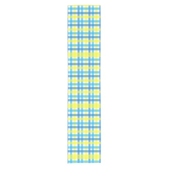 Modern blue and yellow gingham geometric pattern short table runner