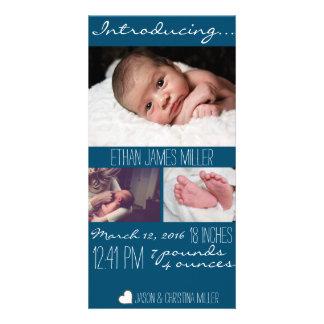 Modern Blue Baby Birth Announcement Photo Card