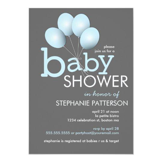 Modern Blue Balloon Boy Baby Shower Invitation