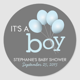 Modern Blue Balloon Boy Baby Shower Sticker