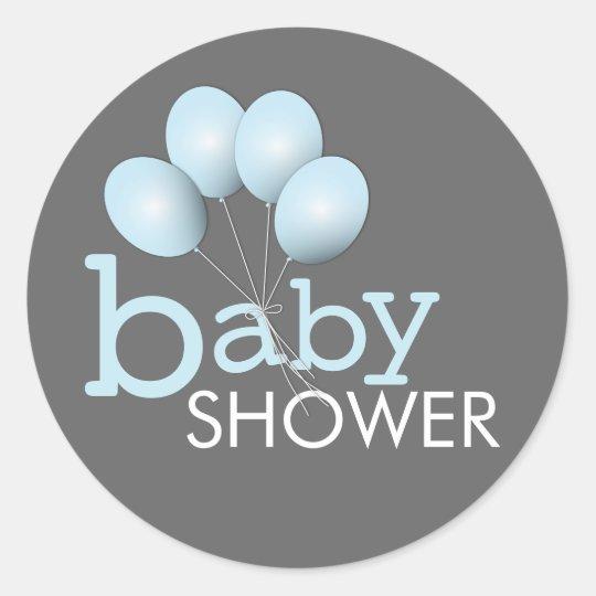 Modern Blue Balloon Boy Baby Shower Sticker
