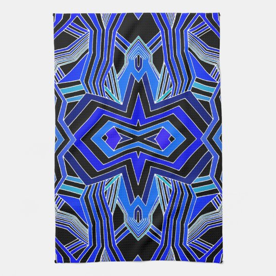 Modern Blue Black & White Geometric Tea Towel