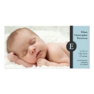 Modern Blue Boy Baby Birth Announcement Photocard Personalised Photo Card