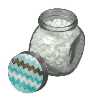 Modern Blue & Brown Chevron Pattern Candy Jar Jelly Belly Candy Jar