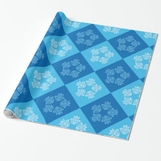 Modern Blue Chessboard Lotus Flower Pattern Design Wrapping Paper