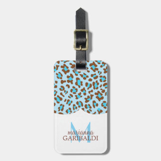 Modern Blue Choco Animal Print Girly Personalized Luggage Tag