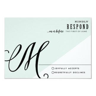 MODERN BLUE COLORBLOCK WEDDING response card 9 Cm X 13 Cm Invitation Card