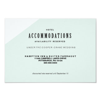 MODERN BLUE COLORBLOCKED WEDDING hotel card 9 Cm X 13 Cm Invitation Card