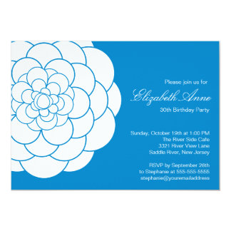 Modern Blue Dahlia Bloom Birthday Party Card