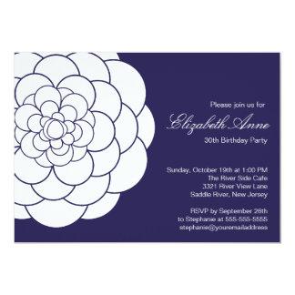 Modern Blue Dahlia Bloom Birthday Party Card