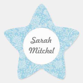 Modern Blue damask pattern Star Sticker