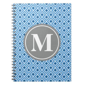 Modern Blue Diamond Graphic Pattern Monogram Notebooks