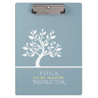 Modern Blue Elegant Classy Tree YOGA Instructor Clipboard
