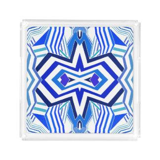 Modern Blue Geometric Acrylic Tray