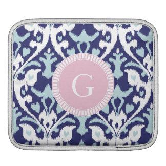 Modern blue girly ikat tribal pattern monogram iPad sleeve