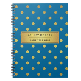 Modern Blue Gold Glitter Polka Dots Notebooks
