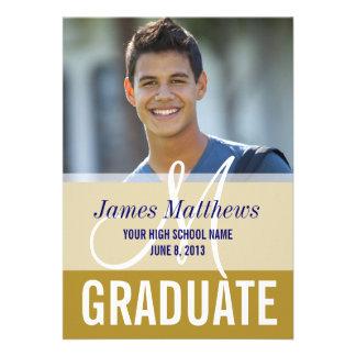 Modern Blue Gold Graduate Photo Invite