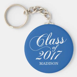 Modern Blue   Graduation Basic Round Button Key Ring