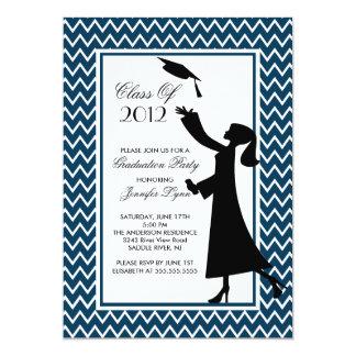 Modern Blue Graduation Invitation Silhouette Grad
